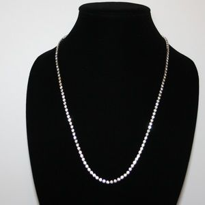 Vintage silver and rhinestone necklace 24""